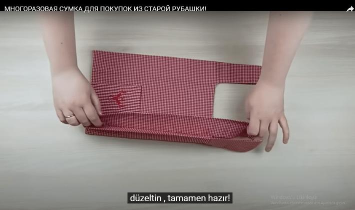 Gömlekten  alış veriş çantası yapılışı
