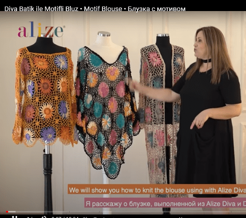 Alize tığ işi motifli bluz yapımı