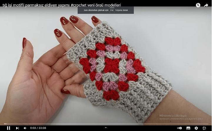 1 Günde 5 adet motifli parmaksız eldiven nasıl yapılır